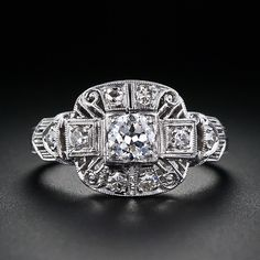 Early Art Deco diamond engagement ring from Lang Antiques' archives.