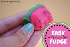 Easy Watermelon Fudge! Two simple ingredients, plus food coloring. #easyfudge #watermelon