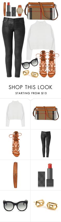 """Give Yourself A Break"" by perichaze ❤ liked on Polyvore featuring Dion Lee, Burberry, Schutz, Rimmel, Alexander McQueen, women's clothing, women, female, woman and misses"