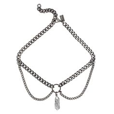 APOGEE. GUNMETAL & CRYSTAL CHAIN CHOKER - Matte Silver - REGALROSE | SHOP Fashion Jewellery & Accessories