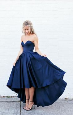 prom dresses, navy party dresses, chic sweetheart prom party dresses, fancy hi-low evening gowns, vestidos
