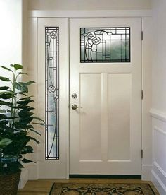 Shaker-style u201cTu201d door from Simpson with leaded glass.^^^ White door with leaded glass is so pretty and classic! & Armstrong TimberBrushed Hardwood Review - http://www.carpet ... pezcame.com