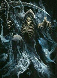 Grim Reaper: Give All Ghost Drain, Give All Undead Animate Death Reaper, Grim Reaper Art, Grim Reaper Tattoo, Don't Fear The Reaper, Grim Reaper Images, Demon Art, Dark Fantasy Art, Dark Art, Skull Tattoos