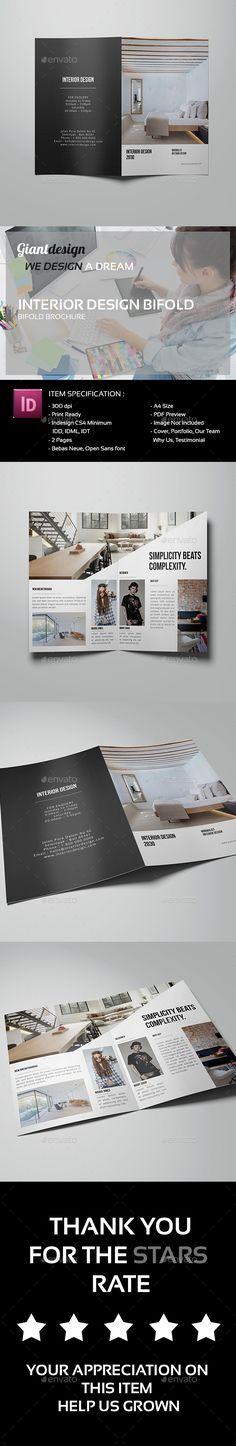 InDesign Interior Design Bifold Brochure  Template • Only available here ➝ http://graphicriver.net/item/interior-design-bifold-brochure/13681663?ref=pxcr