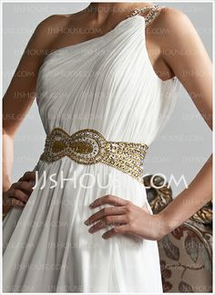 Corte A / Princesa Un Solo Hombro Vestido Gasa Vestido de baile de Promoción con Volantes Abalorios Lentejuelas (018020706)