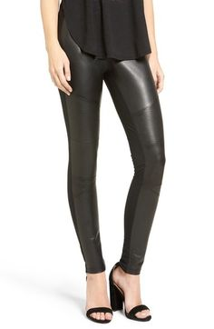 Main Image - BP. Faux Leather Front Moto Leggings - probably small