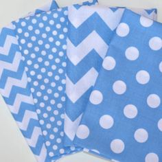 Fat Quarter Bundle -  Riley Blake Chevron & Dots in Medium Blue and White - 4 Fat Quarter Pieces (1 yard Total)
