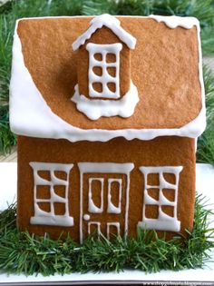 gingerbread house with simple snow