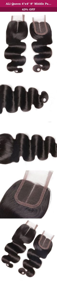 """ALi Queen 4""""x4"""" 8"""" Middle Part Body Wave Lace Closure Bleached Knots Brazilian Virgin Human Hair Accessions. Hair Parameter: 1) Hair Material: 100% human hair virgin Brazilian hair. Can be dyed any color and ironed by your favor. 2) Hair Color: Natural black color. 3) Hair Grade: ALi Queen 5A grade, virgin Brazilian hair. 4) Hair Length: 8"""" 5) Hair Weight: 35 each piece. 6)Texture: Body wave hair middle part lace closure . Natural hair line, soft, comb easily, shedding free, no tangling...."""