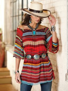 Saltillo Tunic - Crow's Nest Exclusive. Spicy stripes! Silky viscose in Southwest shades with easy fit, elastic neckline to wear on or off-shoulder and full, three-quarter sleeves with elastic cuffs. By: Vintage Collection
