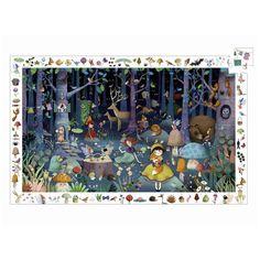 Djeco: puzzle obserwacyjne z plakatem Zaczarowany Las 100 el. Puzzles, Parcel Shipping, Burke Decor, Bunt, Poster, Challenges, Kids Rugs, Frame, Illustration