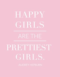 "Happy Girls Are the Prettiest Girls - Audrey Hepburn - 8.5"" x 11"" Print"