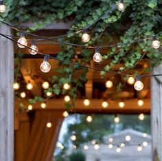 The pergola in our backyard is just waiting for these pretty lights to give it life. Don't you just love what outdoor string lights give to a house?! ✨⭐️ #ihavethisthingforlights #homeblogger #happyfriday #dallasblogger  photocred: @shopterrain