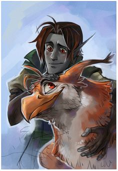 """""""Elf and gryphon""""  awww, I get feels looking at this because it reminds me of Aaron King from my book series with his pet gryphon (what's his name again?)"""