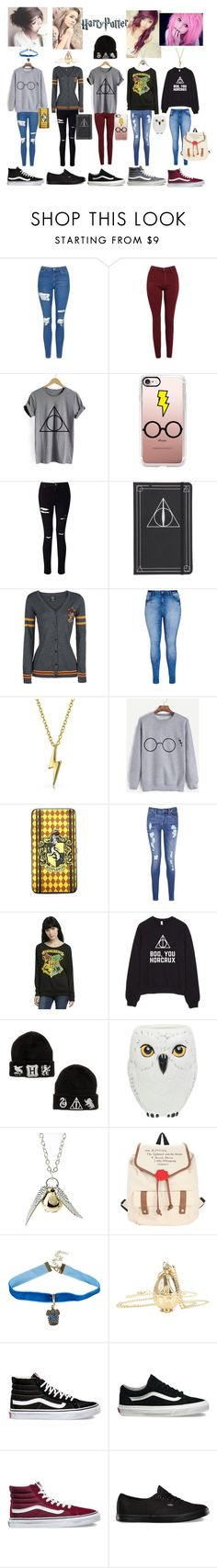 """week of harry potter!!"" by hunterscloset ❤ liked on Polyvore featuring Topshop, AG Adriano Goldschmied, Casetify, Miss Selfridge, City Chic, Bling Jewelry, Warner Bros., Tommy Hilfiger, Quiksilver and Vans"