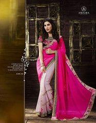 Shreemam Latest Desiner Pink Georget Saree with Embroidery Design