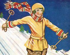 Schoolgirl downhill skiing, vintage skiing print,  winter snow sport