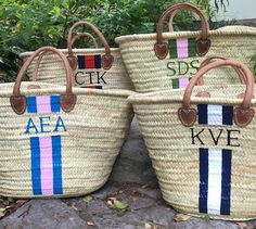 ** Use coupon code LIVELYSUMMER17 at checkout to receive 15% off your totes- $136! Or use for any total purchase over $100!** The Elizabeth Tote, our X-Large Monogrammed Straw Beach Tote / Personalized French Market Basket by Lively Design Studio. Perfect for poolside and the beach. · Handwoven palm straw, imported from Morocco · Measures approximately 18-22+ across at top of bag x 13-15+ tall (not including handles) x 11-13+ deep at top of bag x 6-8+ deep at bottom of bag · Handpainte...