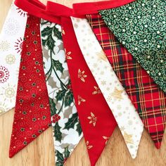 Each piece of bunting is Handmade Approx 2 metres in length flags are double sided Red bias binding each side for hanging Loops can be added to each end on request Christmas Bunting, Red Christmas, Red Gold, Floral Tie, Trending Outfits, Unique Jewelry, Holiday Decor, Handmade Gifts, Green