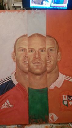 Paul O'Connell painting next step. Adding in the background.