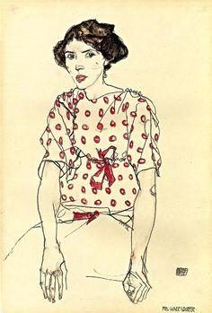 Portrait of Miss Waerndorfer (Egon Schiele - 1913) Portrait of Miss Waerndorfer  Egon Schiele - 1913  Private collection  Painting - watercolor  Height: 48.26 cm (19 in.), Width: 32.39 cm (12.75 in.)
