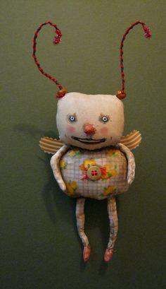 funny little bug art doll , sandy mastroni, odd monster bug , whimsical wall art ,shelf art,