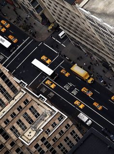 Aerial view of a NYC street