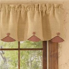 Burlap & Check Red Lined Scallop Valance