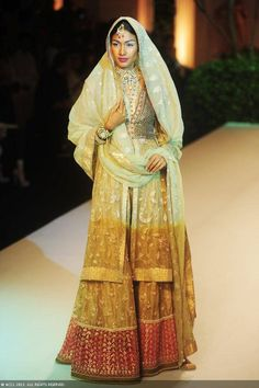 Nethra Raghuraman walks the ramp to showcase a creation by designer Meera Muzaffar Ali on Day 2 of the India Bridal Fashion Week (IBFW) 2013 at The Grand, Vasant Kunj in New Delhi