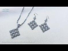Diamond Shape Pendant Beaded Necklace & Earrings. Beads Jewelry Making. Beading Tutorials. Handmade - YouTube Beading Projects, Beading Tutorials, Beading Ideas, Pendant Jewelry, Beaded Jewelry, Beaded Necklace, Necklaces, Jewelry Patterns, Beading Patterns