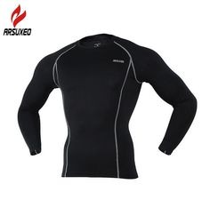 ARSUXEO Men's Compression Base Layers Tight T-Shirts Cycling Sports Long Sleeve Jersey Fitness Gym Fitness Training Clothing