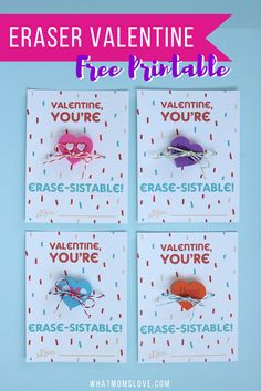 Adorable No Candy Valentine For Kids | Free Printable Valentines Day Card | Fun Valentines for your child to hand out in their school classroom - download at whatmomslove.com