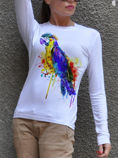 Parrot Cotton Painted Tshirt / White T-Shirt / Handmade by Cotton9