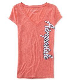 Camiseta Aeropostale Feminina SCRIPT V NECK - Salmão