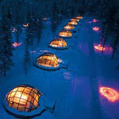 Kakslauttanen Arctic Resort in Saariselkä, Lapin Lääni, Finland, enjoy the Northern Lights