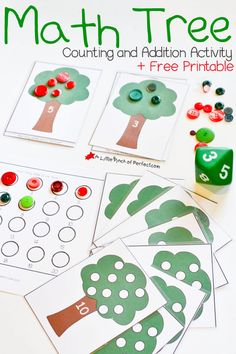Counting and Addition Free Printable Math Activity-The numbered trees can be used for lots of themes--fall leaves and apples, summer cherries, spring birds...
