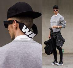 Alexander Wang X Hm Sweater, Alexander Wang X Hm Sunglasses, H&M Biker Leather Jacket, Yohji Yamamoto Y3 Sneakers, Neoprene Backpack, Black Short With Leggings