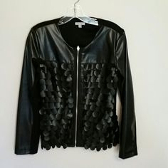 Jacket Faux leather and knit jacket. Black, excellent condition. Size 8. Linda Domani Jackets & Coats