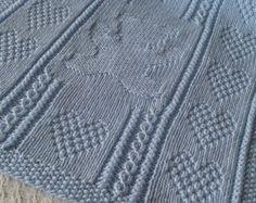 Baby Blanket 5 coperta del bambino blu Handknit coperta