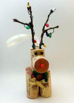 Wine Cork Christmas Ornaments | Handmade Wine Cork Reindeer Christmas ornaments/decorations
