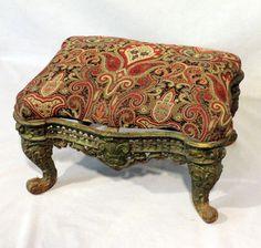 Antique Victorian Cast Iron Foot Stool Ottoman -