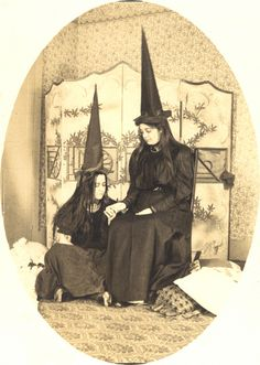 vintage postcard photo witch witches costume halloween
