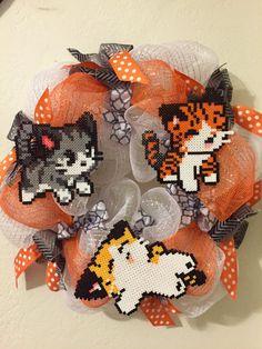 Kitty Cat deco mesh wreath made with perler beads by AmeliasWreathsofJoy