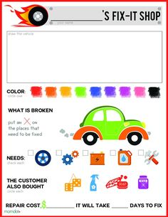Free Pretend Play printable for Mechanic, fun for kids of all ages to diagnose thier hot wheels or cars and fix them, easy PDF download