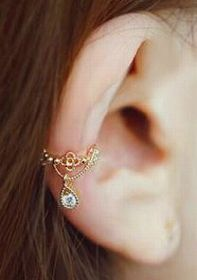 Punk Rhinestone Wrap Ear Cuff Cartilage Clip On Earring ゴールド (YEC)