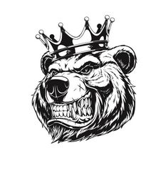 Fierce Grizzly Bear Head with Crown . Bear Clipart, Bear Vector, Ankle Tattoo Small, Small Tattoos, White Tattoos, Ankle Tattoos, Tiny Tattoo, Corona Tattoo, Grizzly Bear Tattoos