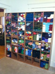 My Wall of Yarn is Finished, how to organize yarn, craft room organization