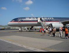 Boeing 757-2B7, US Airways, N615AU, cn 27146/551, first flight 6.5.1993 (USAir), US Airways delivered 27.2.1997, next First Choice Airways (28.6.2004). Active, Federal Express (FedEx). Foto: Sint Maarten, 7/2001.