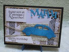 Kartenfenster: der Blaue VW Käfer - zum Geburtstag