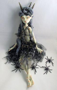 VAMPIRE VELVET, ball jointed paper clay art doll, handmade in the USA by Kaeriefaerie52 on Etsy
